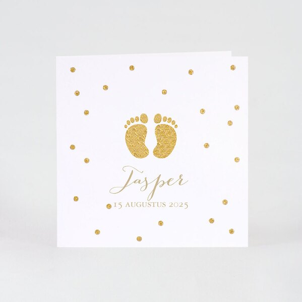 witte-geboortekaart-met-voetjes-in-gouden-glitter-buromac-507112-TA507-112-03-1